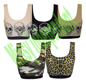 New-Womens-LadiesSkull-Army-and-Leopard-Print-Sports-Bra-Crop-Vest-Tank-Top