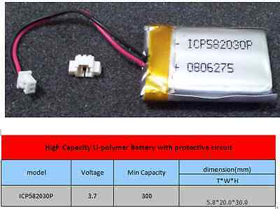 5x Lithium-polymer Battery with protective circuit 3.7V 300mah