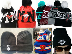 NWT-Hip-Hop-Diamond-Beanie-Winter-knit-Cotton-knitting-warm-Hats