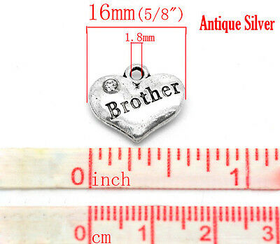 4 x Rhinestone Heart Charm 24 different ones to choose