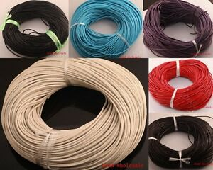100-Real-Leather-Cord-10-100m-Length-Jewelry-Necklace-String-Thread-Pick-Color