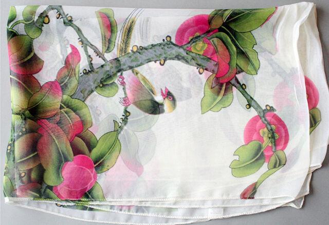 Women's Fashion White & red Georgette Long Wrap Shawl Beach Silk Lucky Flower