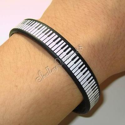 Silicone Black Rubber Bangle Elastic Belt Bracelet Piano Keyboard Music White
