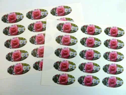 Rosa Flor Rosa Oval Sello Etiquetas Para envoltorio de regalo Bolsas sobres tarjetas pegatinas
