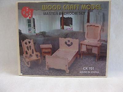 Puppenstube Möbel Puppenmöbel Holzbausatz  3D Puzzle  NEUWARE  Schlafzimmer