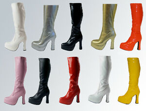 Fancy-Dress-Platform-Boots-Silver-Gold-White-Black-Pink-amp-Red-Size-3-11