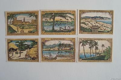 6 DIF 1921 BILLS w GERMANY's AFRICAN/ASIAN COLONIES! RARE FULL SET in AU cv $240