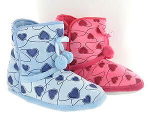 Mädchen Herz Aufdruck kuschelig kuschlig Pelzig WARME Hausschuhe Stiefel UK