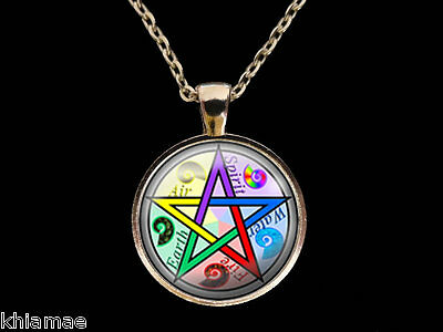 "Pentacle Necklace 18"" silver plated chain pendant pentagram wicca pagan jewelry"