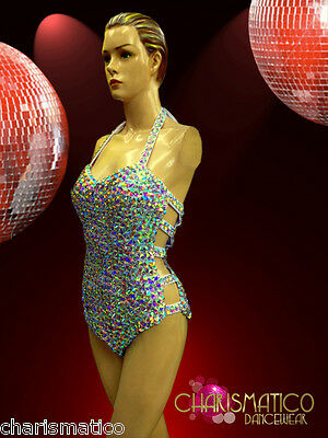 Halter Style Iridescent Crystal Studded Showgirl Or Drag Queen Dance Leotard