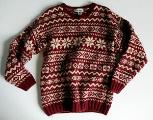 L-L-BEAN-Mens-S-Thick-Tightly-Woven-Nordic-Sweater-100-WOOL-Made-in-Scotland