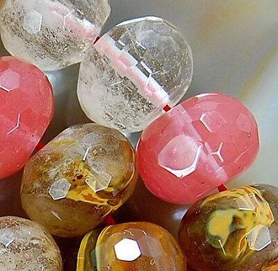 "10x14mm Faceted Volcano Cherry Quartz Rondelle Beads 15.5"""