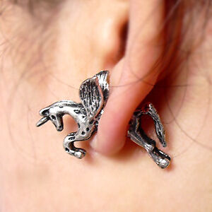 wholesale-1Pair-Gothic-Punk-Rock-Temptation-alloy-Fly-unicorn-ear-stud-Earring