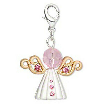 Pink Angel Charm Clasp Pendant Breast Cancer Awareness Jewelry Lot of 2