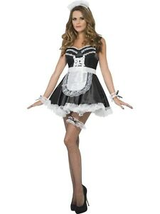 Ladies-French-maid-Accessory-Set-Fancy-Dress-Hat-Garter-Arm-Cuffs-amp-Apron