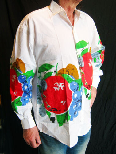 new unique LOUD White long sleeved silk-screen printed shirt FRENCHMAN//FRUIT