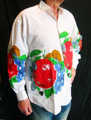 Uomo Unico Lunga Silk Camicia Francese Bianco Stampa Manica screen Loud qTnwx1COF