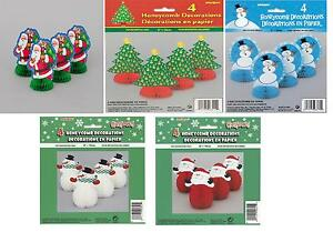 6-034-Mini-Honeycomb-Pack-4-Christmas-Party-Table-Decorations-Snowmen-Santas-Trees