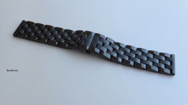"22mm 7/8"" BLACK TWO TONE  SHINY/POLISH HEAVY STAINLESS STEEL WATCH BAND,BRACELET"