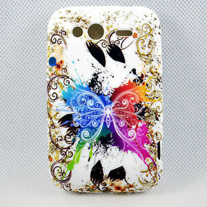 Colorful-Butterfly-Rubber-Silicone-Skin-Soft-Cover-Case-For-HTC-Wildfire-S-G13