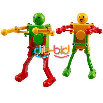 Red Yellow Green Clockwork Spring Wind Up Dancing Robot Children Kids Toy EB