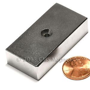 N42 Neodymium Magnet 2x1x1/2 w/ Counter Sunk Hole NdFeB Magnets 4 PC
