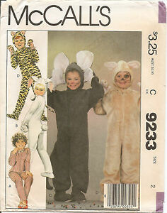 1984-McCalls-Sewing-Pattern-9233-Boys-Girls-Animal-Costumes-Halloween