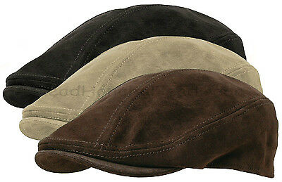 Suede Leather Mens GATSBY Cap Newsboy Ivy Hat Golf Driving Flat Cabbie USA Made