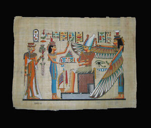 Egyptian-Papyrus-genuine-hand-painted-Maat-with-Isis-43x33cm
