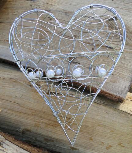 oder Fensterdekoration Deko Filigran Herz zum Öffnen Metall silber Tisch