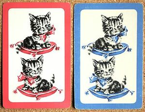 CAT-TABBY-KITTENS-ON-CUSHIONS-RED-amp-BLUE-DECO-PAIR-VINTAGE-SWAP-PLAYING-CARDS
