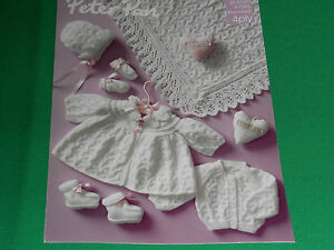 Babys-Coat-Cardigan-Bonnet-Mitts-Boots-and-shawl-size-9-12-knitting-pattern