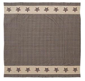 BINGHAM Star Shower Curtain Country Black Country Patchwork Homespun Plaid Check
