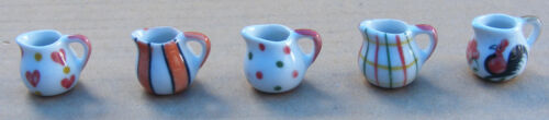 1:12 Scale Hand Painted Ceramic Water - Milk Jugs Dolls House Miniature Kitchen