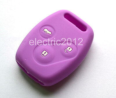 Purple Silicone Case Remote Cover Protecting Bag Fit For Honda Key 3 Button 3B