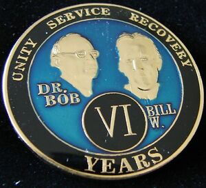 Alcoholics Anonymous 6 Year Anniversary Blue Tri Plate Medallion Bill W Dr Bob