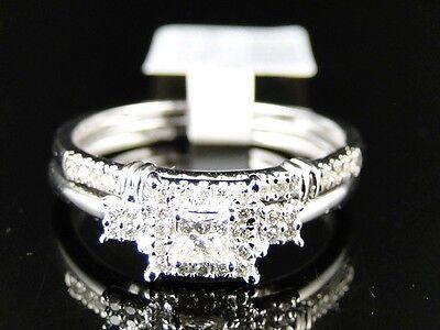 WHITE GOLD LADIES PRINCESS CUT DIAMOND WEDDING ENGAGEMENT BRIDAL RING SET