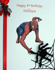 personalised d spiderman birthday card any age  son/grandson, Birthday card