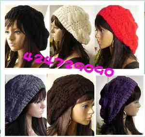 Snow-Winter-Women-Girls-Beret-Braided-Crochet-Hat-Ski-Cap-Warm-6-Colors-E011