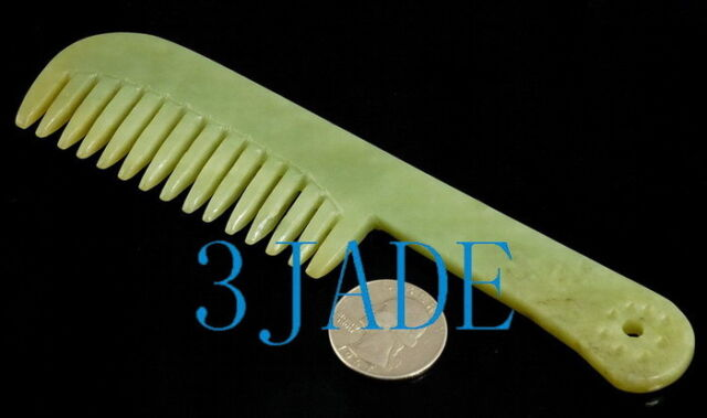 "6"" Hand Carved Natural Hetian Nephrite Jade Comb"