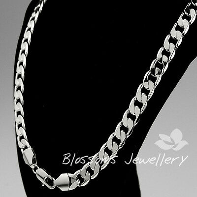 9K 9CT WHITE GOLD Layered 10mm WIDE OPEN LINK MENS Womens Chain NECKLACE 76gram