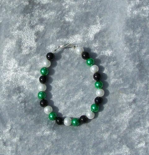 Armband  für Borussia Fans Kette schwarz weiss grün Perlen Ohrhänger
