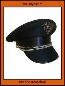 SDL-MILITARY-CAP-HAT-GOTH-STEAMPUNK-57-58-59cm-SKULL-amp-BONE-CROSS-WINGED-SKEL