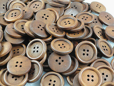 50pcs New 4 hole Wood Buttons25mm Sewing Craft Free Shipping