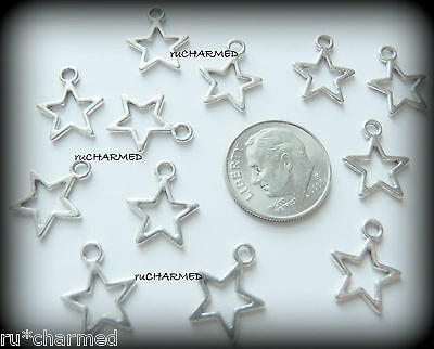 12pc Silver Open STAR Charms - Jewelry & Card Making Bracelet Wine Glass Gifts