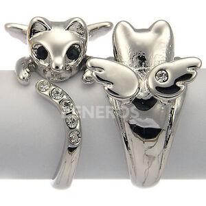 Cute-Angel-Kitten-Cat-Wing-Adjustable-Animal-Kitty-Ring-Swarovski-Crystal-Silver