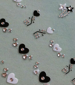 Nail-Art-3D-Sticker-Crystal-Decal-Black-and-White-Heart-Flower-Butterfly-31-pcs