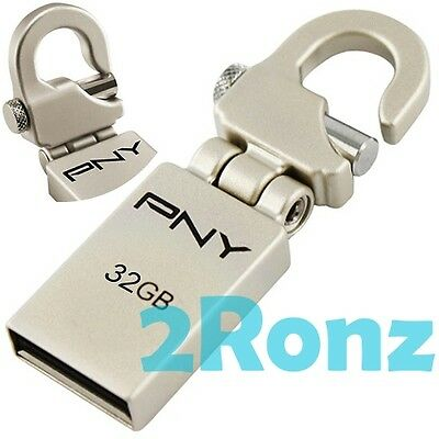 PNY Mini-Hook Attache 32GB 32G USB Flash Pen Drive Stick Disk Hinge Clip Metal
