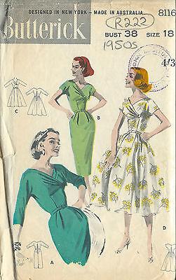 "1950s Vintage Sewing Pattern DRESS B38"" (R222)"