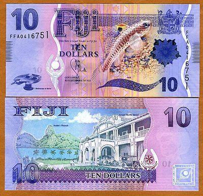 FIJI, 10 dollars, 2012 (2013), P-116,  UNC > New Design, Flying fish